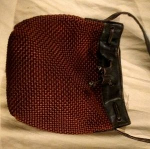 Sharif Brown Woven Bucket Purse w/ Leather Strap